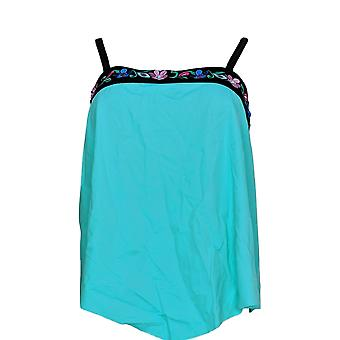 Fit 4 U Swimsuit Embroidered Bandeau Tankini Top Green A350541