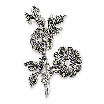 26mm 925 Sterling Silver Marcasite and Acrylic Pearl Flowers Pin Jewelry Gifts for Women