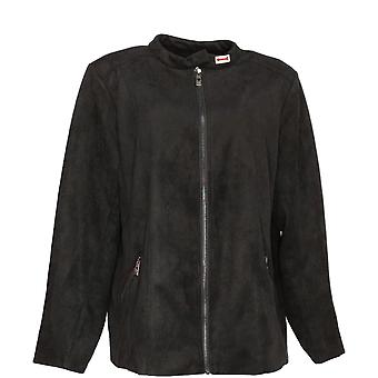 Belle by Kim Gravel Women's Faux Suede Zip-Front Jacket Black A367288