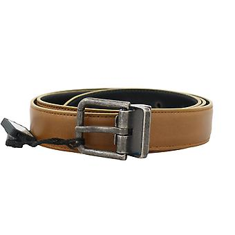 Dolce & Gabbana Yellow Gold Leather Gray Vintage Buckle Belt