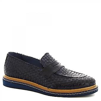 Leonardo Shoes Men's handmade loafers shoes in blue woven calf leather