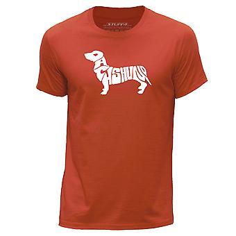STUFF4 Men's Round Neck T-Shirt/Dog Love / Dachshund/Orange