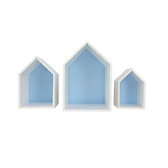 Prateleira da casa Elise, conjunto de 3, azul