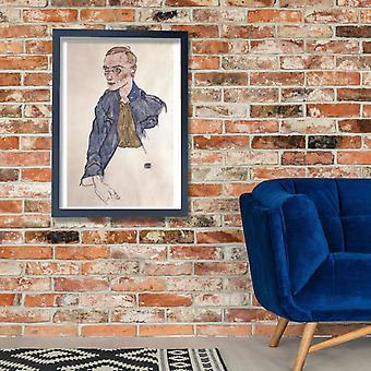 Egon Schiele - homem em cartaz azul impressão giclée