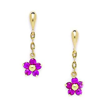 14k Yellow Gold Red CZ Cubic Zirconia Simulated Diamond Large Flower Shaped Drop Screw back Earrings Measures 20x6mm Jew