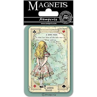 Stamperia Alice A Long Tale 8x5.5cm magneetti