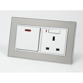 I LumoS AS Luxury Satin Silver Metal 20A Switch with Switched Neon 13A UK Socket