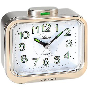 Atlanta 1940/9 alarm clock quartz analog golden with Bell signal luminous hands