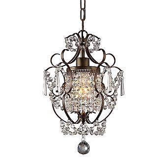 Rosalie 1-licht Antiek Brons 11-inch Kristallen Kroonluchter