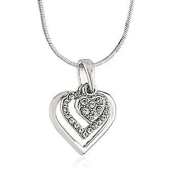 Silber Halskette mit drei Linn Cobra Herz Form Anhänger und Glassteine von 42 cm - 8 cm 268172