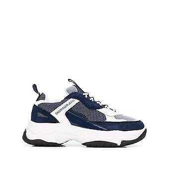 Calvin klein jeans marvin white navy trainers mens white, blue