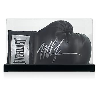 Mike Tyson Signed Black Boxing Glove In Display Case