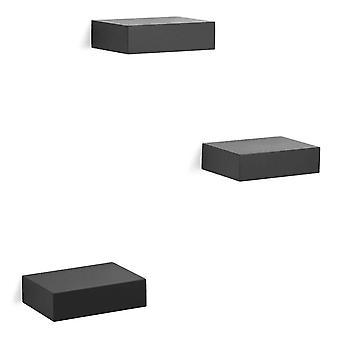 Umbra Showcase Conjunto de prateleira flutuante de 3 pretos