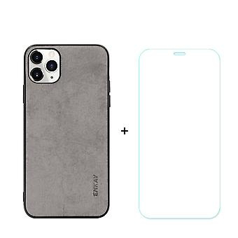 Voor iPhone 11 Pro Max Case Fabric Texture Grey & Tempered Glass Screen Protector