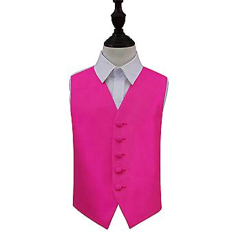 Fuchsia Pink Solid Check Wedding Waistcoat for Boys