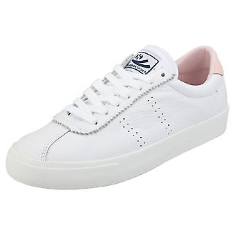 Superga 2843 Clubs Comfleau Womens Flatform Trainers in White Pink