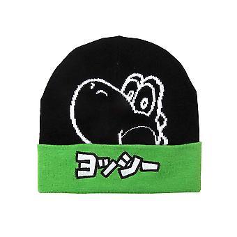 Yoshi Beanie Hat Yoshi Japanese logo super mario new Official Nintendo Black