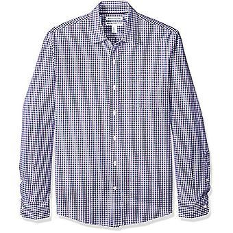 Essentials Men's Slim-Fit Camisa Casual Poplin de Manga Longa, Azul/Roxo...
