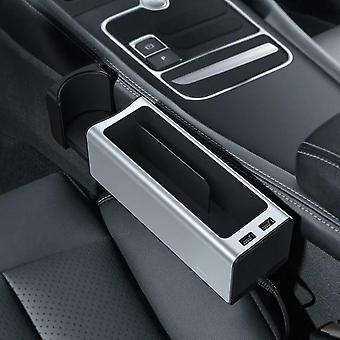 Baseus dual usb charging power car organizer auto seat crevice gaps storage box cup mobile phone holder for pockets stowing tidying organizer car