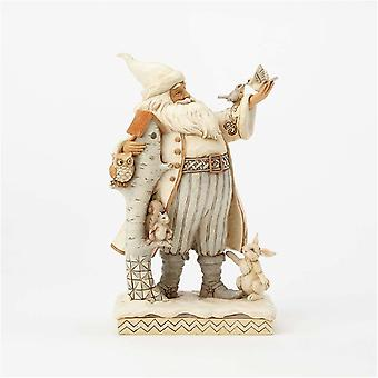Jim Shore Heartwood Creek White Woodland Santa With Birch Birdhouse Statue Figurine