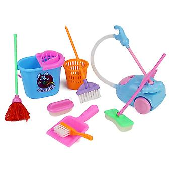 9pcs Children Pretend Play Toy Kids- Dolls Furniture Cleaning Playset Home Furnishing Funny Vacuum Cleaner Mop Broom Tools