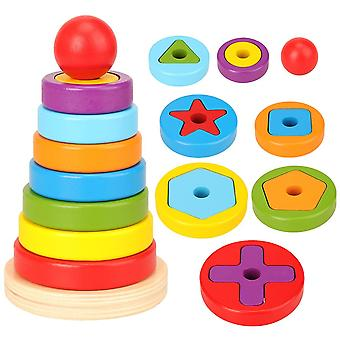 Rainbow Pyramid Nesting, Stacking Shape Puzzle Games Toy