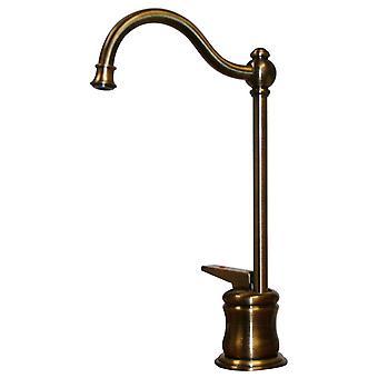 Rubinetto dell'acqua calda istantanea point of use con beccuccio tradizionale e maniglia autocondizione - Ottone antico