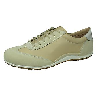 Geox D Vega A Womens Leather Trainers - Sable