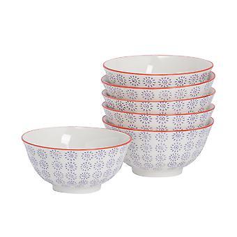 Nicola Spring 6 Piece Hand-Printed Cereal Bowl Set - Japanese Style Porcelain Breakfast Dessert Serving Bowls - Purple - 16cm