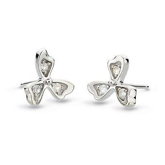 Kit Heath Blossom Petal Bloom White Topaz Petal Stud Earrings 30373WT