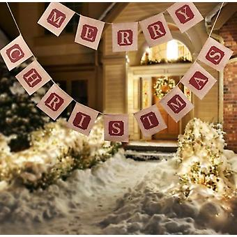 Merry Christmas Jute Burlap Banners,christmas Banner,christmas Decoration