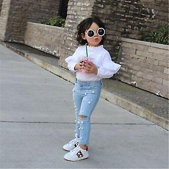 Fille Summer Casual Jeans Shredded Hole Denim Pants, Elastic Trousers Baby