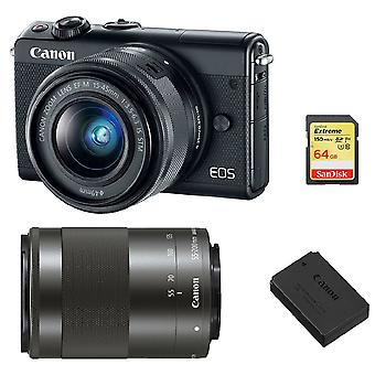 CANON EOS M100 Black TWIN KIT EF-M 15-45mm F3.5-6.3 IS STM Black EF-M 55-200mm F4.5-6.3 IS STM Black + 64Go SD card + LP-E12 Battery