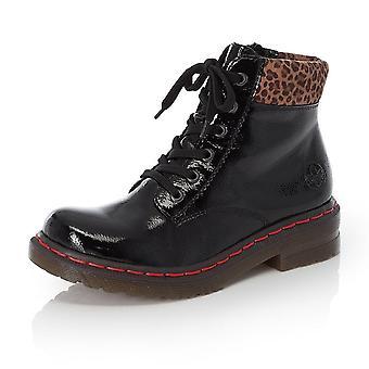 Rieker 76212-00 Leopard Ii nilkkasaappaat mustassa patentissa