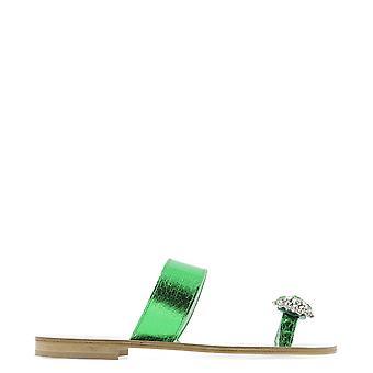 Emanuela Caruso J01cverde Women's Green Leather Sandals