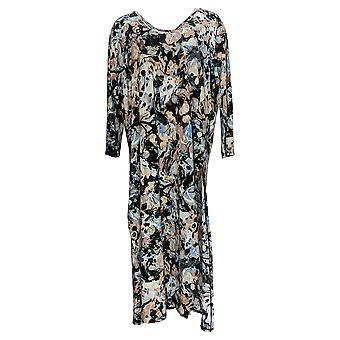 Women With Control Women's Top Printed Tunic W/ Side Slits Black A379886