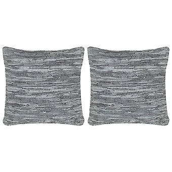 vidaXL Poduszka 2 szt. Chindi Grey 45 x 45 cm skóra i bawełna