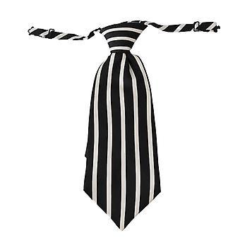 Black white stripe mens necktie 100% silk tie