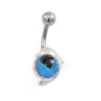 Navel ring with dolphins and disco ball design 14g