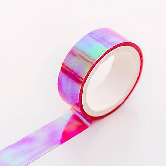 Rhythmic Gymnastics Decoration, Holographic Prismatic, Glitter Tape Hoops Stick