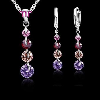Romantic 925 Sterling Silver Link Chain Crystal Pendant Necklace Jewelry Set