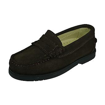 Cool Boys Harry Kids Suede Leather Deck Shoes - Brun