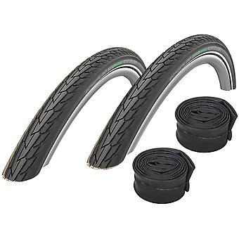 "Velo.Set 2 x Schwalbe Road Cruiser Tires = 37-622 (28×1,4"") + Hoses"