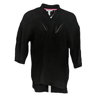 Isaac Mizrahi Live! Mujer's Suéter 3/4 Slv Kimono Cardigan Negro A353853