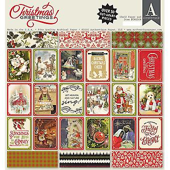 Authentique Christmas Greetings 12x12 pulgadas Paper Pad