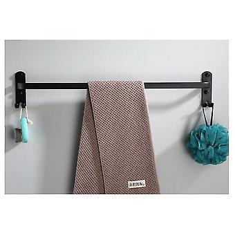 Towel Hanger Wall Mounted Rack Bathroom Aluminum Black Bar Rail Matte Black