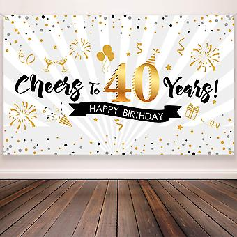 40Th birthday party decoration, extra large fabric black gold sign poster for 40th anniversary photo
