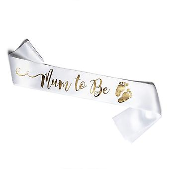 Olilly white sash for a future mum to wear at her baby shower (white and gold) white and gold