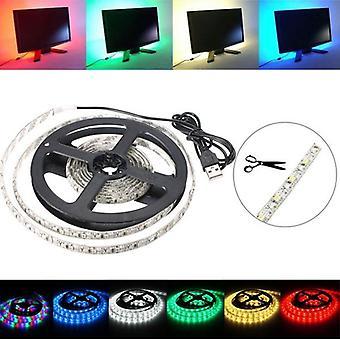 200CM 3528 120LED 9.6W USB LED Strip Light TV Background Lighting IP65 Kit 5V