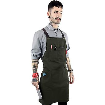 Under NY Sky Essential Army Green Apron & Cross-Back with Durable Twill a